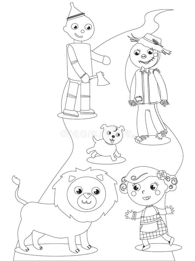 Mago De Oz Maravilloso Que Colorea 04 Los Caracteres Ilustración del ...