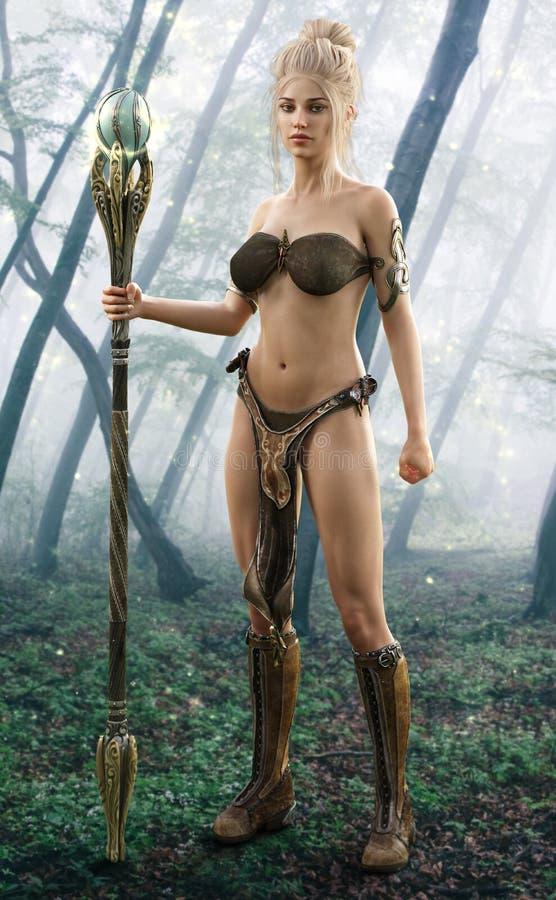 Mago de sexo femenino rubio que presenta en un bosque encantado ilustración del vector