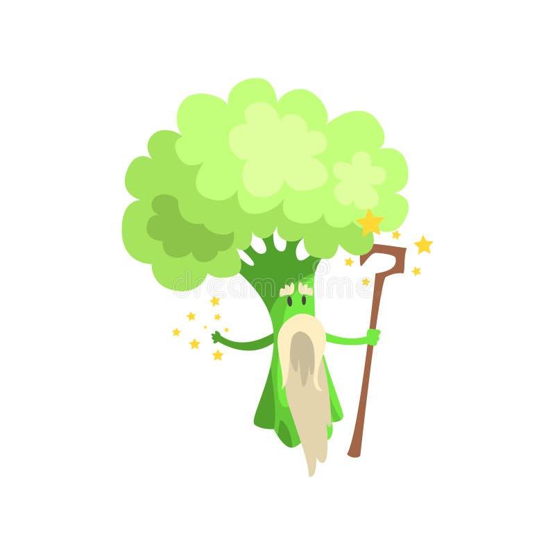 Mago del bróculi con el personal y barba blanca, parte de verduras en series de los disfraces de la fantasía de caracteres tontos stock de ilustración