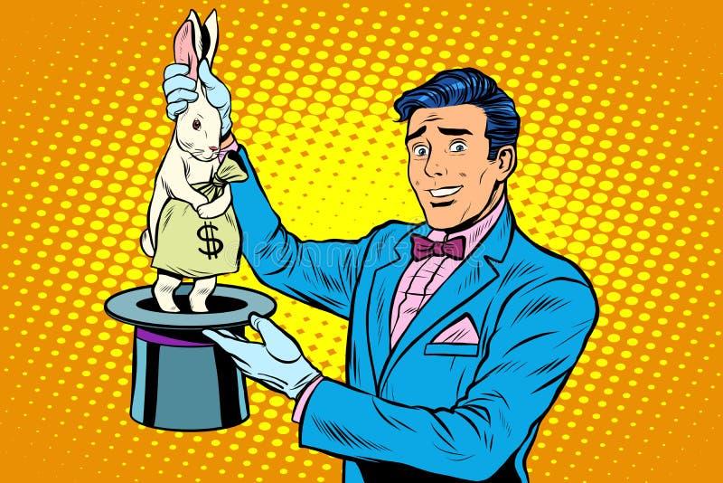 Mago del hombre de negocios y dinero del conejito ilustración del vector