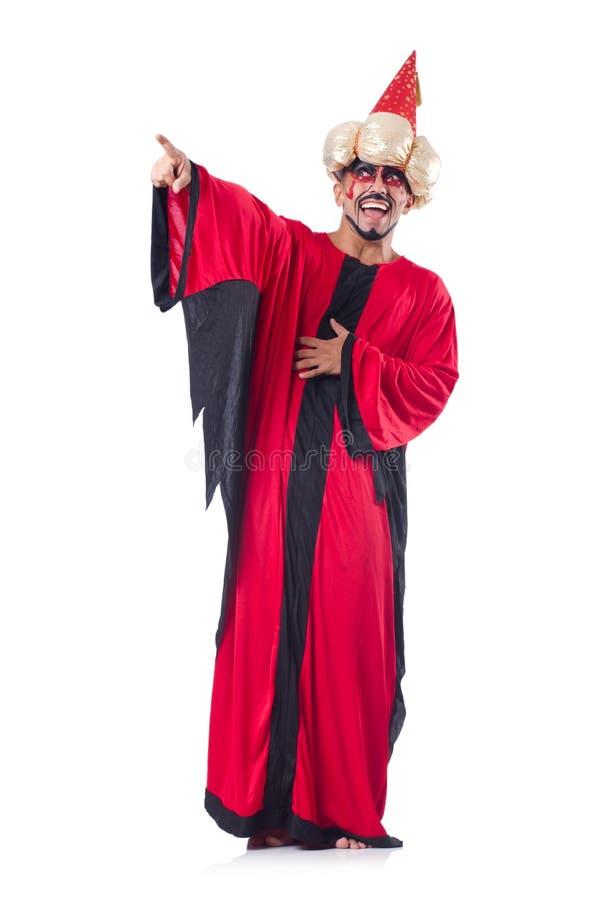 Mago en traje rojo fotos de archivo libres de regalías