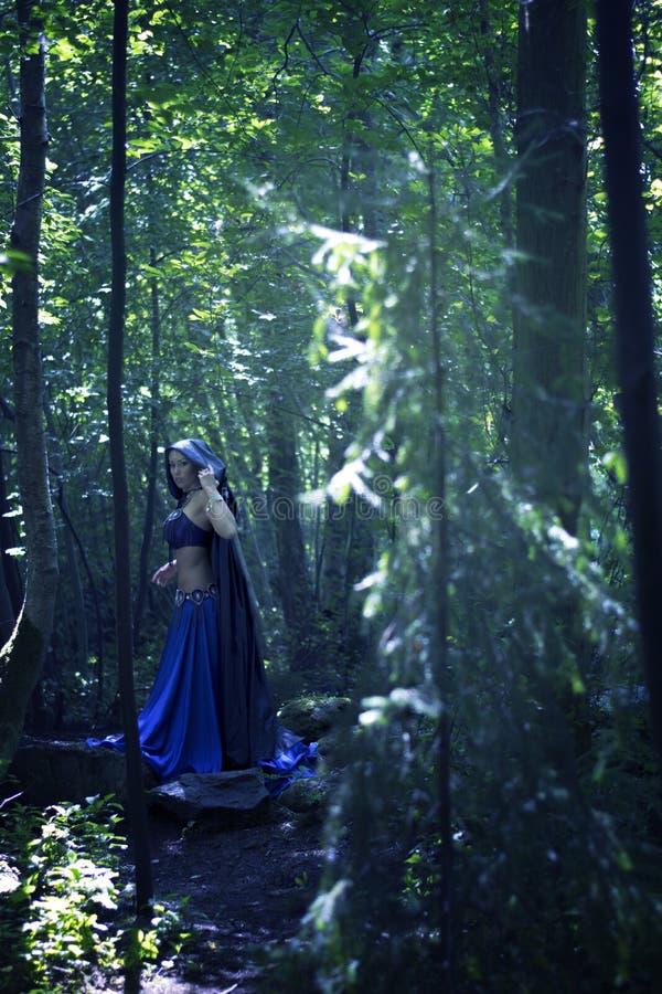 Mago hermoso en atmósfera mágica del bosque oscuro misterioso fairytale imágenes de archivo libres de regalías