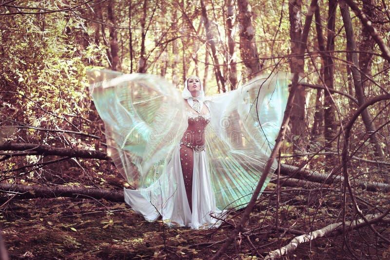 Mago hermoso en atmósfera mágica del bosque oscuro misterioso fairytale imagen de archivo
