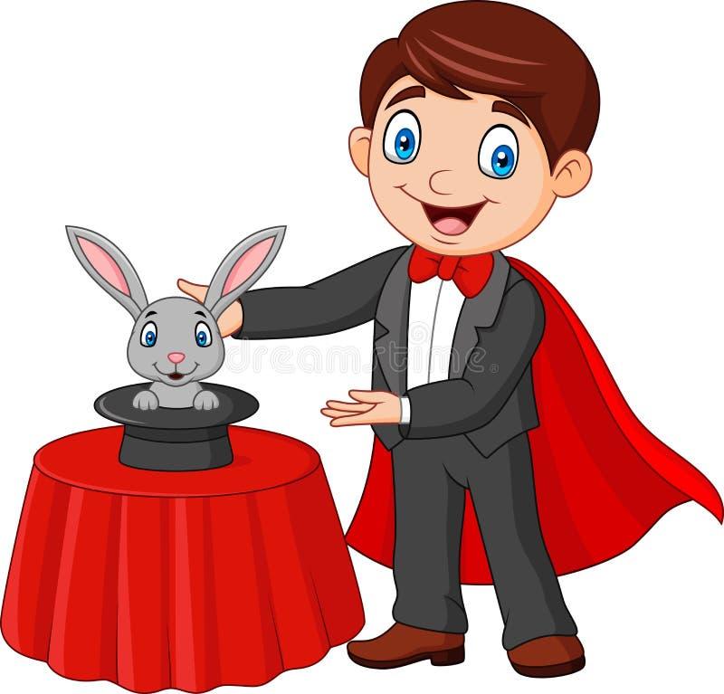 Mago que realiza el suyo conejo del truco que aparece de un sombrero de copa mágico libre illustration