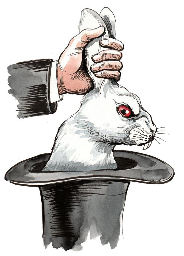 Mago que saca un conejo del sombrero stock de ilustración