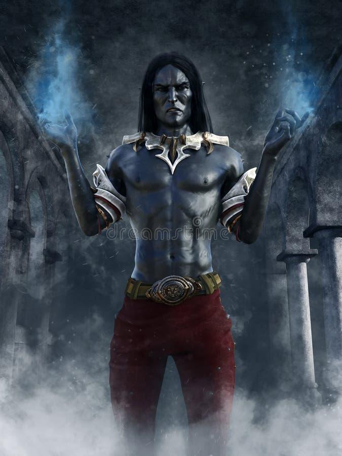 Mago scuro dell'elfo con fuoco blu illustrazione vettoriale