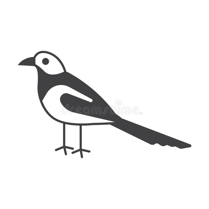 MAGPIE bird- vector sign symbol. MAGPIE illustration royalty free illustration