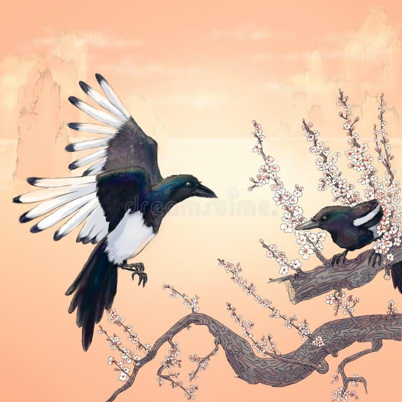 magpies stock de ilustración