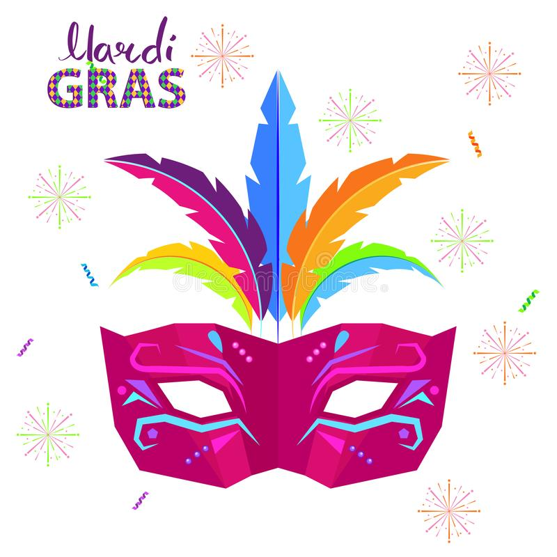 Magri Gras Carnival Flat Vector Concept with Mask. Magri gras carnival concept with mask decorated colorful feathers flat vector isolated on white background vector illustration