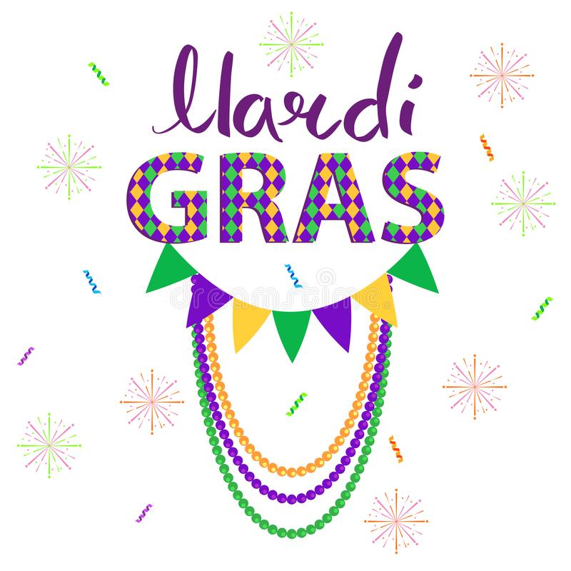 Magri Gras Carnival Vector Concept with Garlands stock illustration