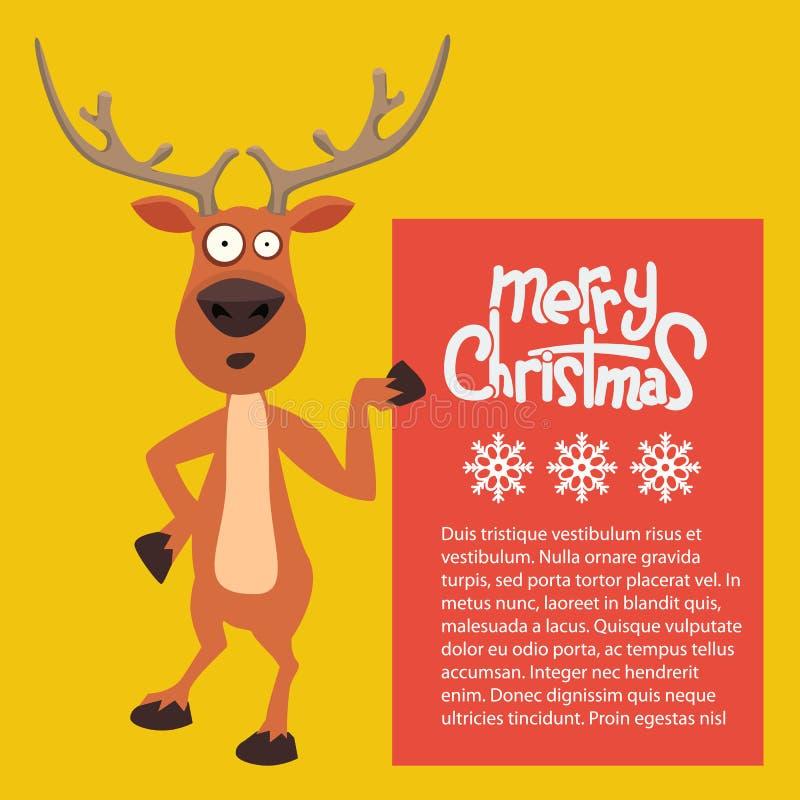 Magro del reno de Santas de la Navidad de la historieta encendido y señalando en una muestra stock de ilustración