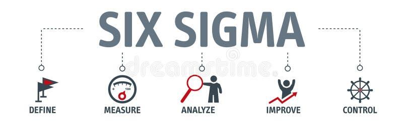 Magro seis ejemplos del vector del concepto de la sigma con el texto y relacionados stock de ilustración