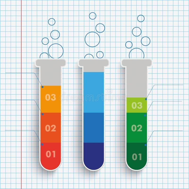 Magros papel verificado 3 tubos de ensaio ilustração stock