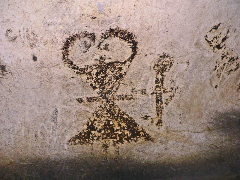 Magura洞在保加利亚 与棒鸟粪的史前壁画图画 免版税库存图片