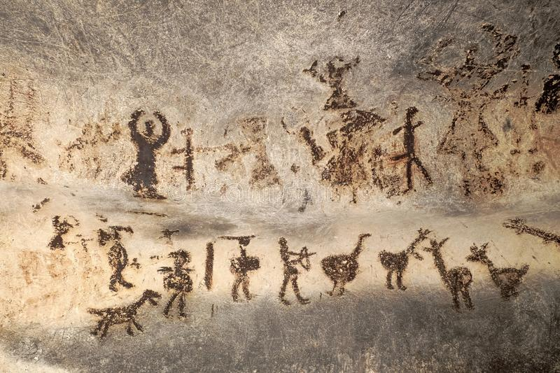 Magura洞,保加利亚史前绘画  图库摄影