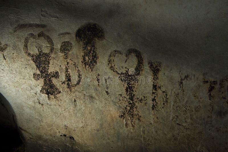 Magura洞在保加利亚 在岩石的史前绘画 免版税图库摄影
