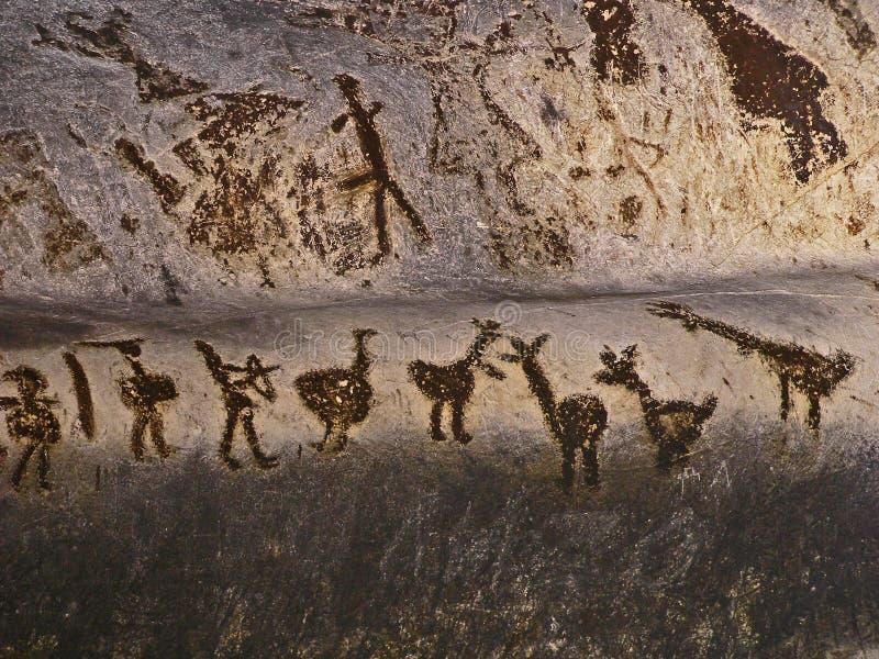 Magura frana la Bulgaria Disegni preistorici delle pitture di parete con il guano del pipistrello fotografia stock