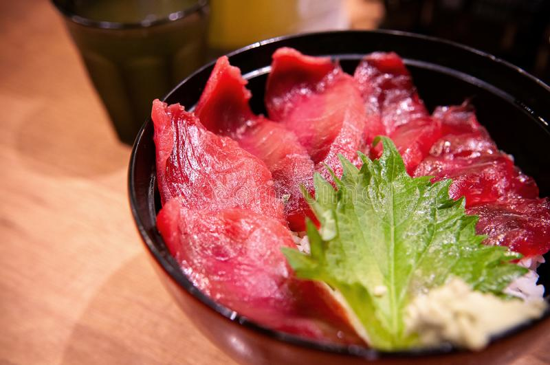 Maguro don Tuna sashimi rice bowl Japanese cuisine royalty free stock images