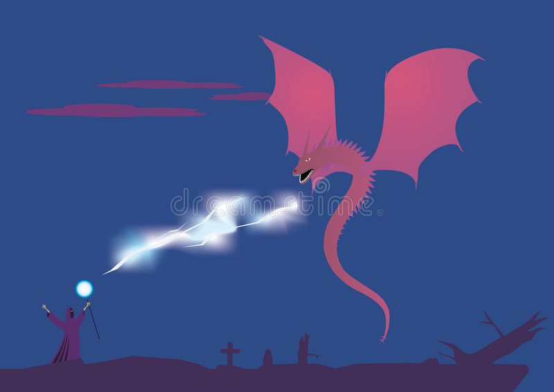 Magus et bataille de dragon illustration stock