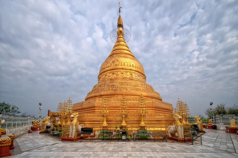 Tuyin Taung Pagoda. Magway, Myanmar, May 2019- Tuyin Taung Pagoda, Burmese Buddhist pagoda near Bagan, believed to enshrine four tooth relics of Buddha, built by royalty free stock image