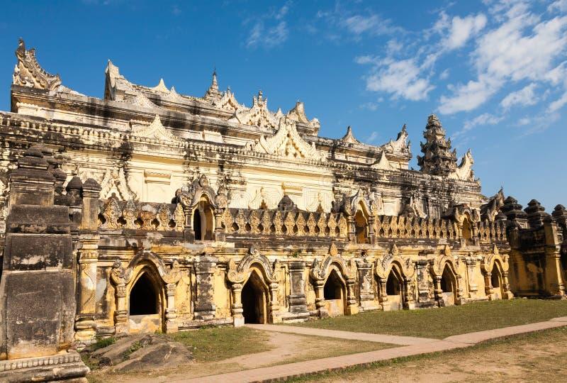Maha Aung Mye Bon Zan monastery, Mandalay, Burma. The brick yellow Maha Aung Mye Bon Zan monastery on the Inwa royal site near Mandalay royalty free stock image