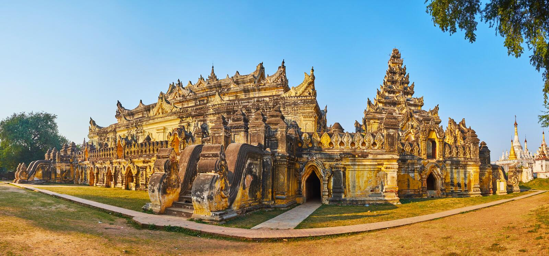 Maha Aungmye Bonzan Monastery-Komplex, Ava, Myanmar lizenzfreie stockfotografie