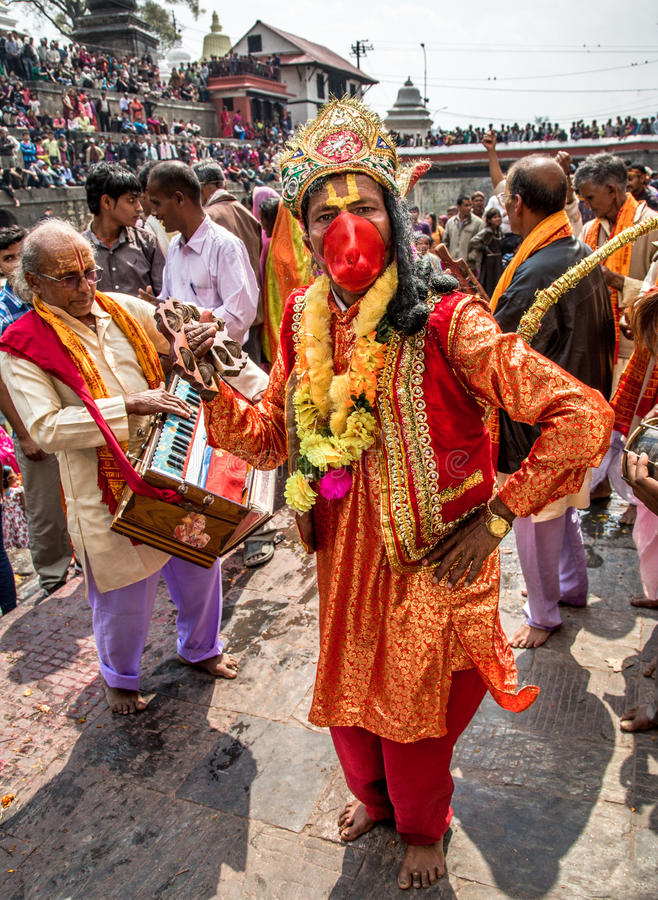 Maha Shivaratri Festival, Pashupatinath Temple, Ka. Hindus wearing Hanuman mask, celebrating 2013 Maha Shivaratri festival in Pashupatinath Temple, a UNESCO royalty free stock photo