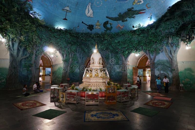 Maha Wizaya Pagode Pagoda Paya in Rangoon Myanmar Birmania immagine stock libera da diritti