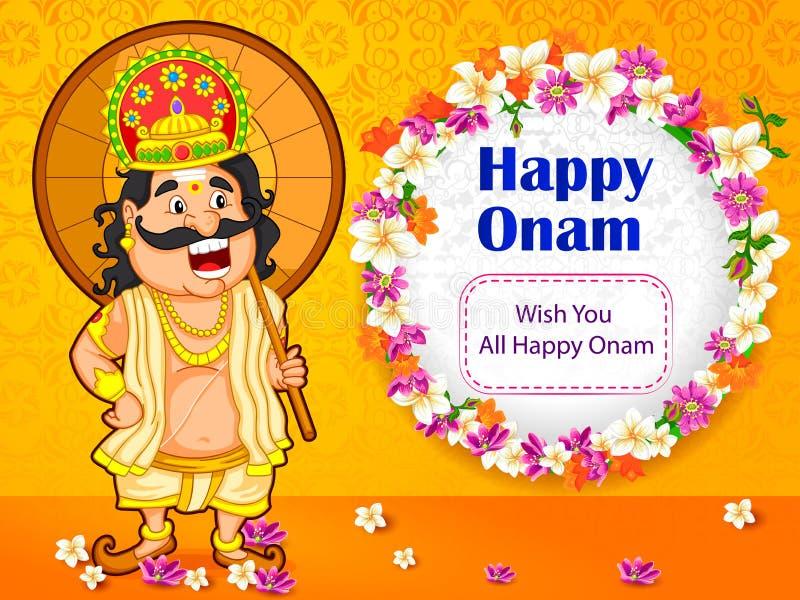 Mahabali国王祝愿喀拉拉的Onam节日 库存例证