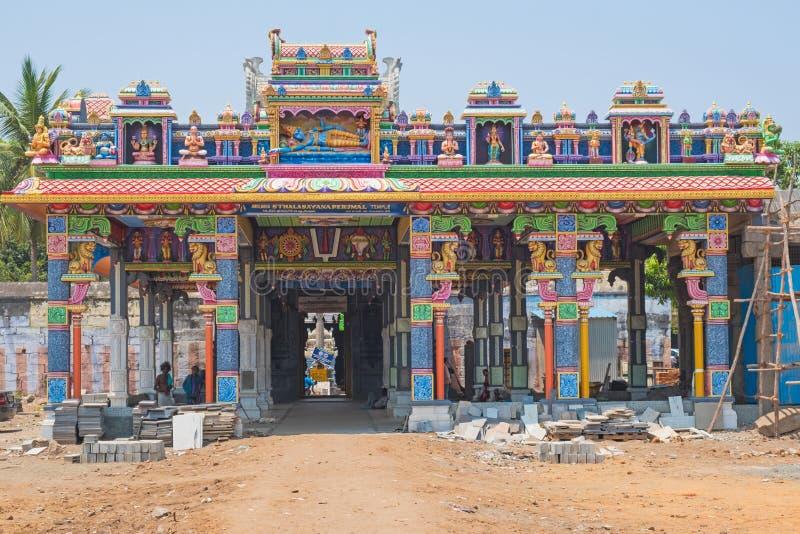 Hindu temple under construction in Tamil Nadu. Mahabalipuram, India - March 20, 2018: A Hindu temple under construction. Tamil Nadu state is renowned for the royalty free stock images
