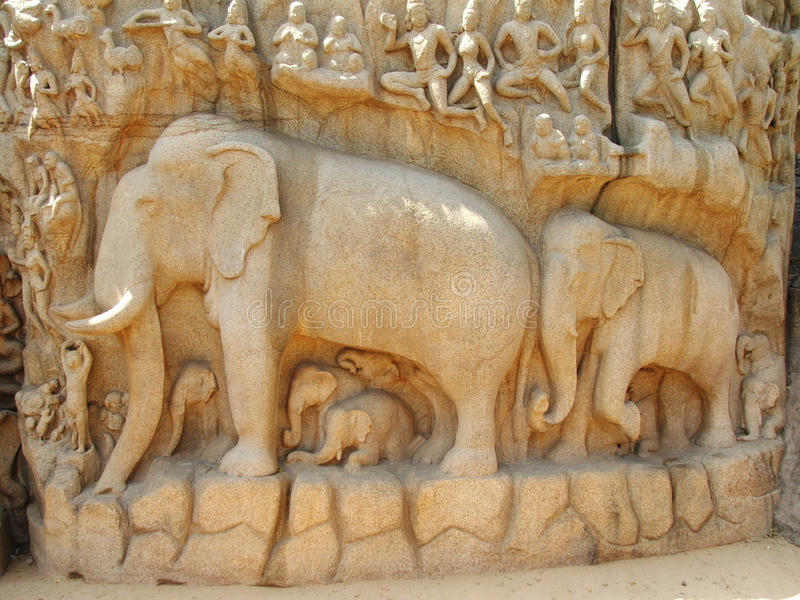 mahabalipuram rzeźba obrazy royalty free