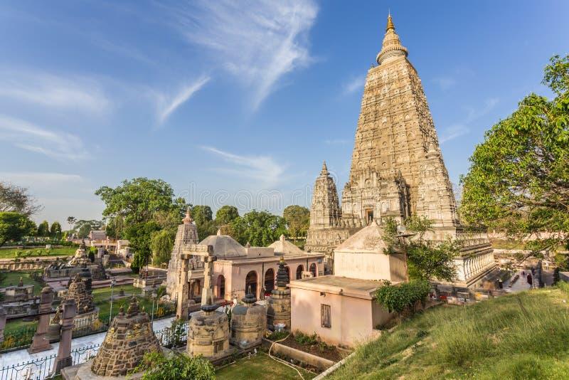 Mahabodhi寺庙, bodh gaya,印度 免版税库存照片