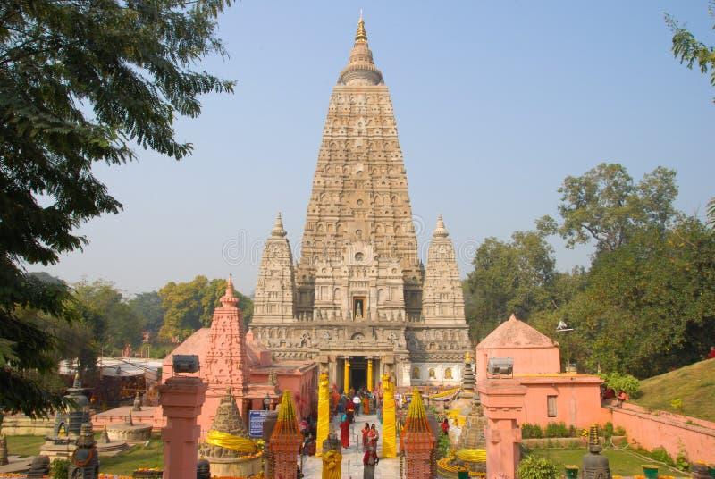Mahabodhi tempel, bodhgaya, Indien Platsen var Gautam Buddha royaltyfri fotografi