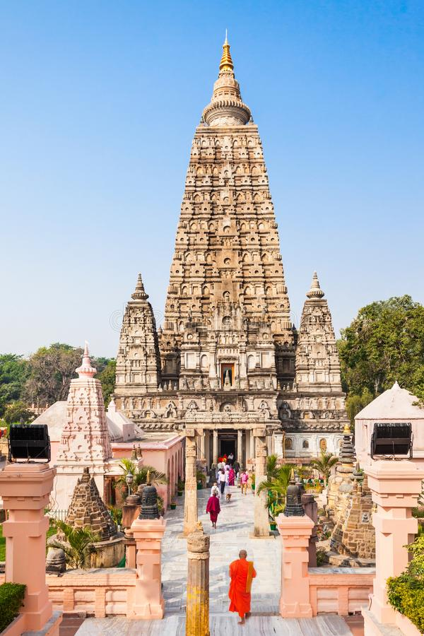 Mahabodhi Temple, Bodhgaya. Bodh Gaya is a religious site and place of pilgrimage associated with the Mahabodhi Temple Complex in Gaya district in the state of royalty free stock photography
