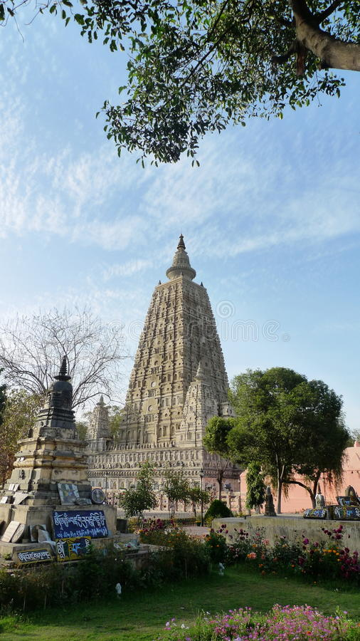 Mahabodhi Temple. A UNESCO World Heritage Site, is a temple in Bodhgaya marks the location where Siddhartha Gautama is said to have attained enlightment to stock photos