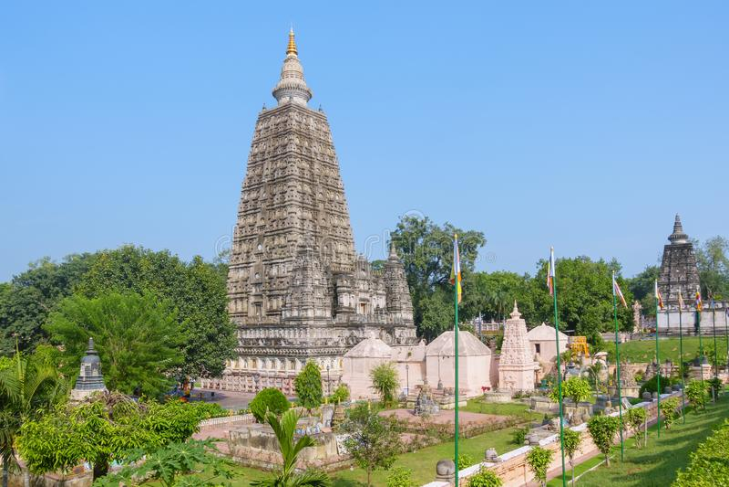 Mahabodhitempel, bodh gaya, India De plaats waar Gautam Buddha verlichting bereikte royalty-vrije stock foto's