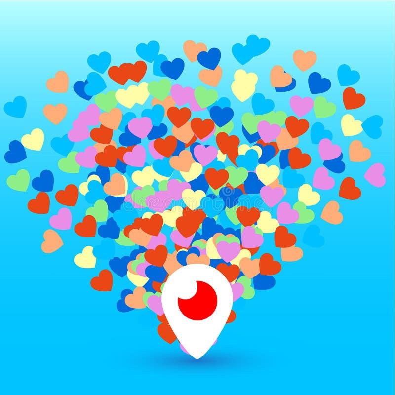 Mahachkala, Ρωσία - 2 Οκτωβρίου 2016 Περισκόπιο app για το τηλεοπτικό λογότυπο συνομιλίας με τη διανυσματική απεικόνιση καρδιών σ απεικόνιση αποθεμάτων