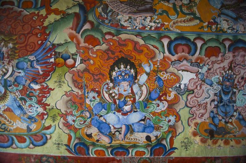 Mahakala Fyra-händer, buddistiskt beskyddande, Bhutan arkivfoto