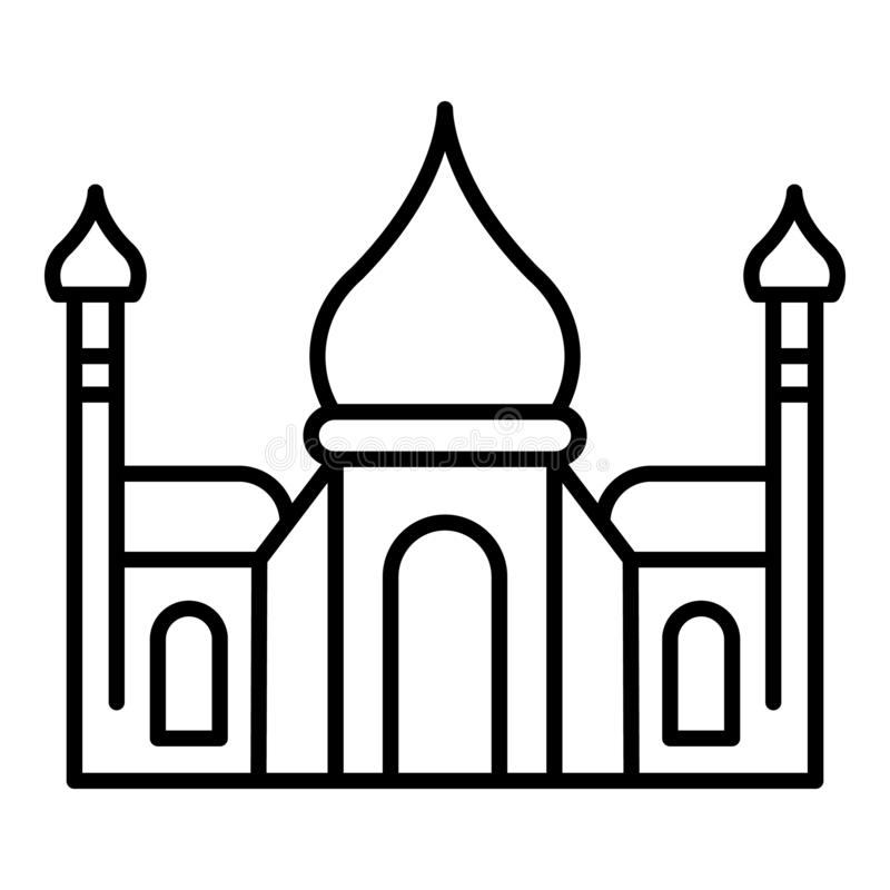 Mahal εικονίδιο Tadj, ύφος περιλήψεων απεικόνιση αποθεμάτων