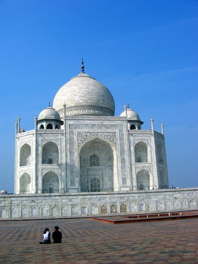 Mahal σχεδιάγραμμα Taj Στοκ Φωτογραφία