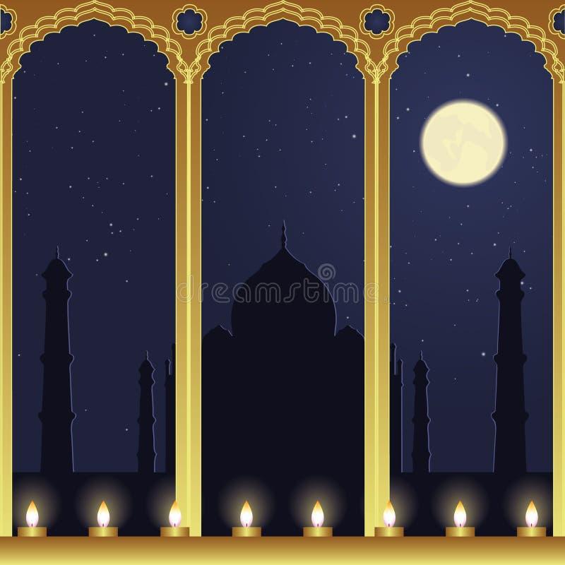 mahal noc taj widok ilustracji