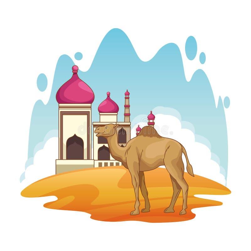 Mahal Taj en het landschap van het kameelbeeldverhaal vector illustratie