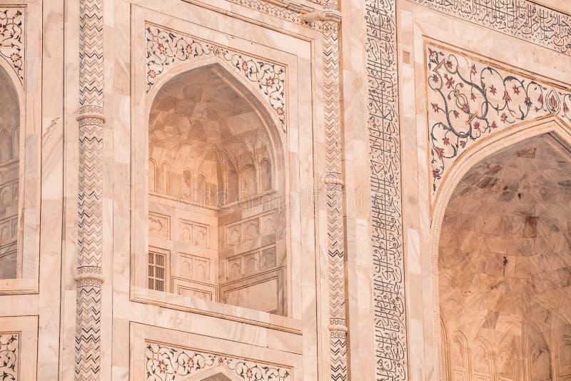 Mahal Taj, het beroemde historische monument van A, a-monument van liefde, het Grootste Witte marmeren graf in India, Agra, Uttar  stock afbeeldingen