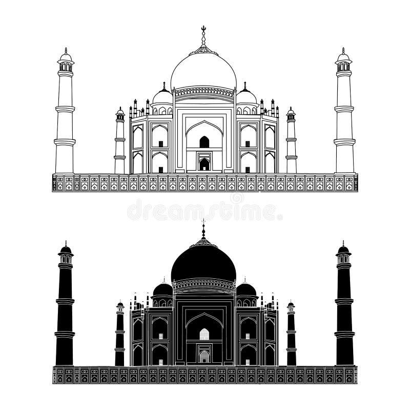 mahal taj india Översikt och kontur vektor Mycket hög detalj royaltyfri illustrationer