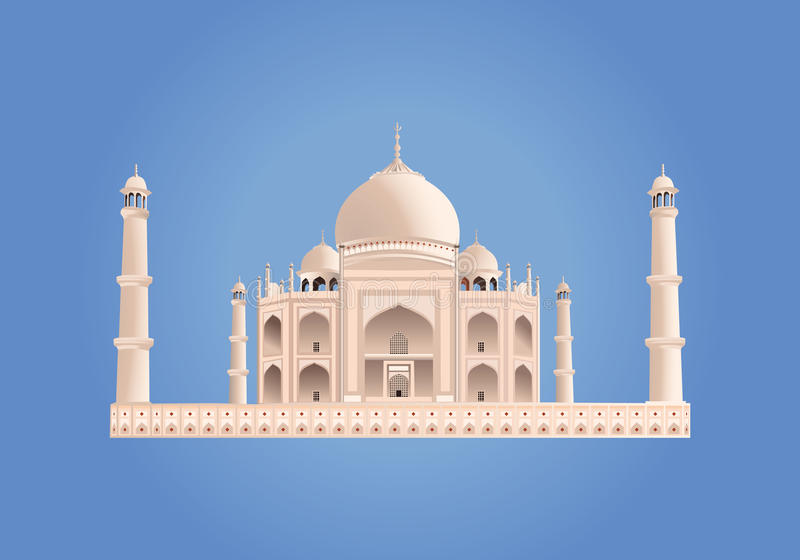 mahal taj india vektor Mycket hög detalj stock illustrationer
