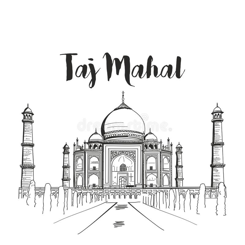 Mahal Taj skissar vektorillustrationen royaltyfri illustrationer