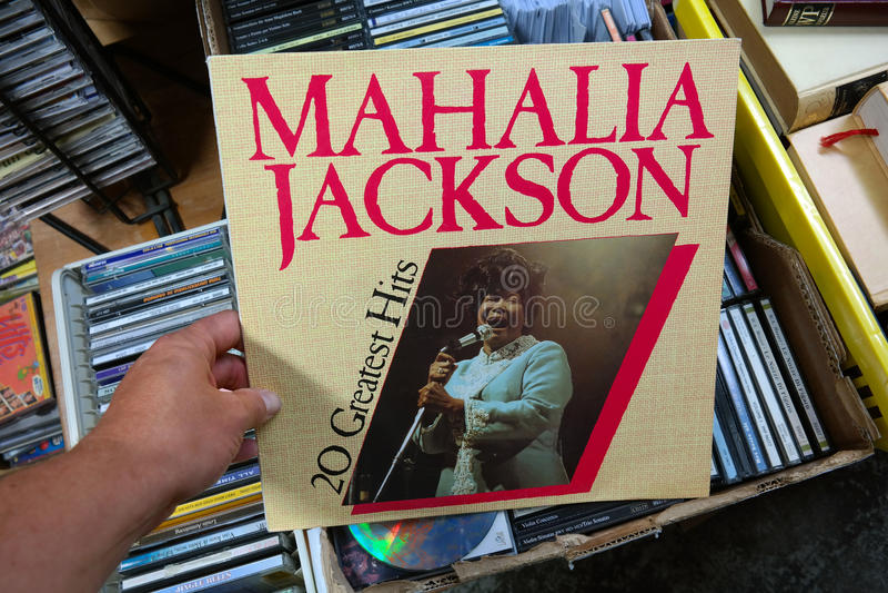 Mahalia Jackson, 20 Greatest Hits album. THE NETHERLANDS - JULY 2016: LP record of the American gospel singer Mahalia Jackson, in a second hand store stock photo