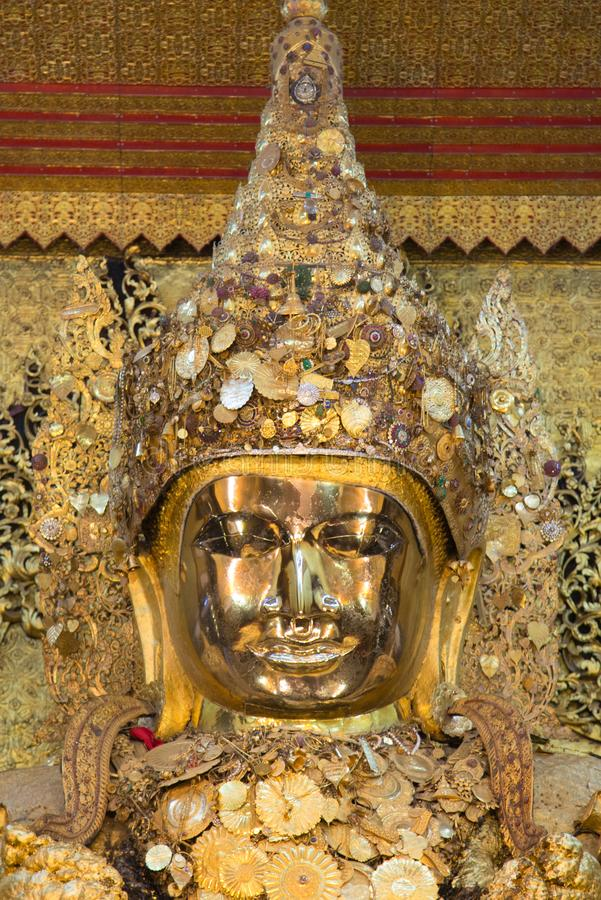 Mahamuni Buddha at Mahamuni temple in mandalay is the most important buddha image and famous place for tourist and buddhist. Myanmar people,Mandalay,Shan state stock images