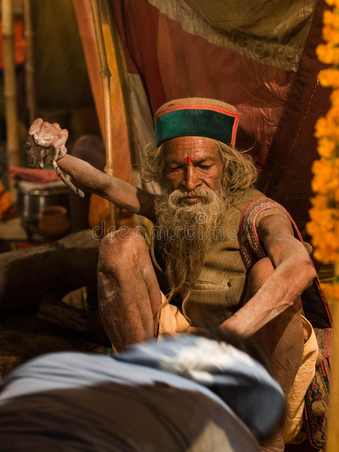 Mahant Amar Bharti Ji Giving Blessings a Kumbh me fotografie stock libere da diritti