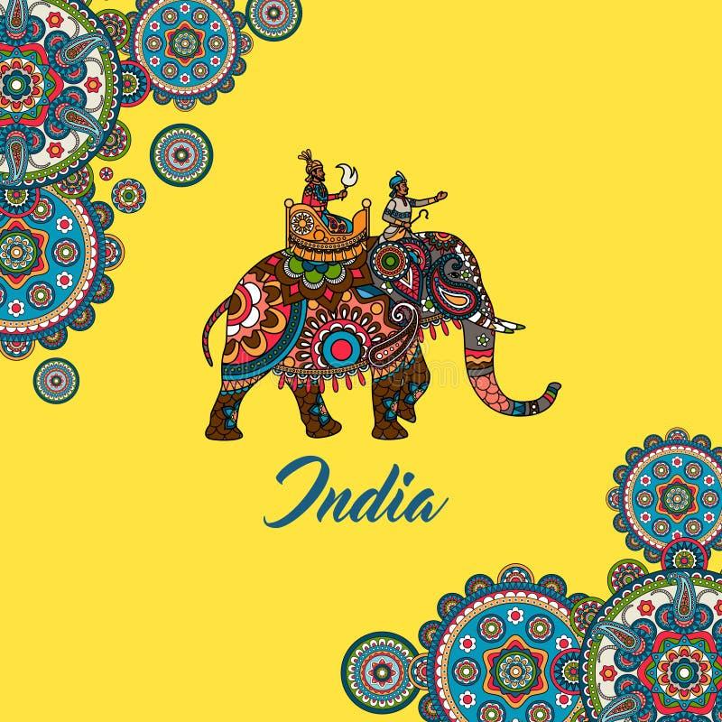 Maharajá indio que se sienta en elefante stock de ilustración